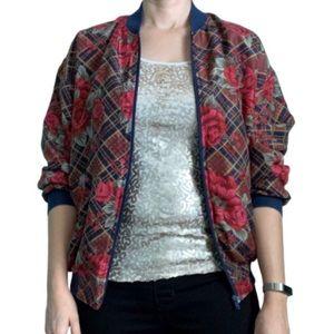 Vintage 100% silk bomber jacket plaid floral